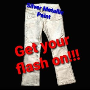 Silver Metalic Painted Jeans